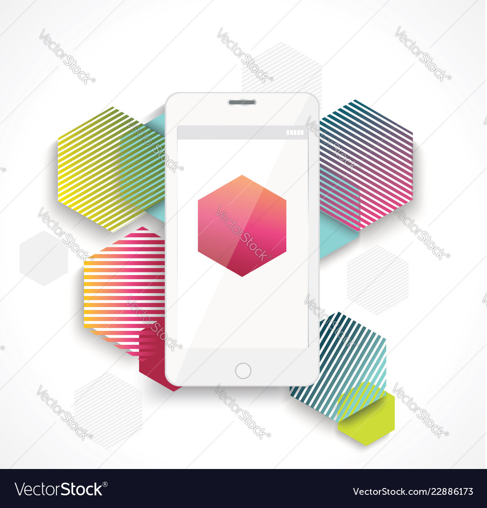 Mobile cell phone on colorful vibrant geometry
