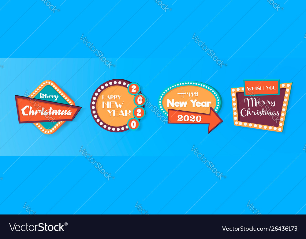 Retro christmas and new year quote label set vector