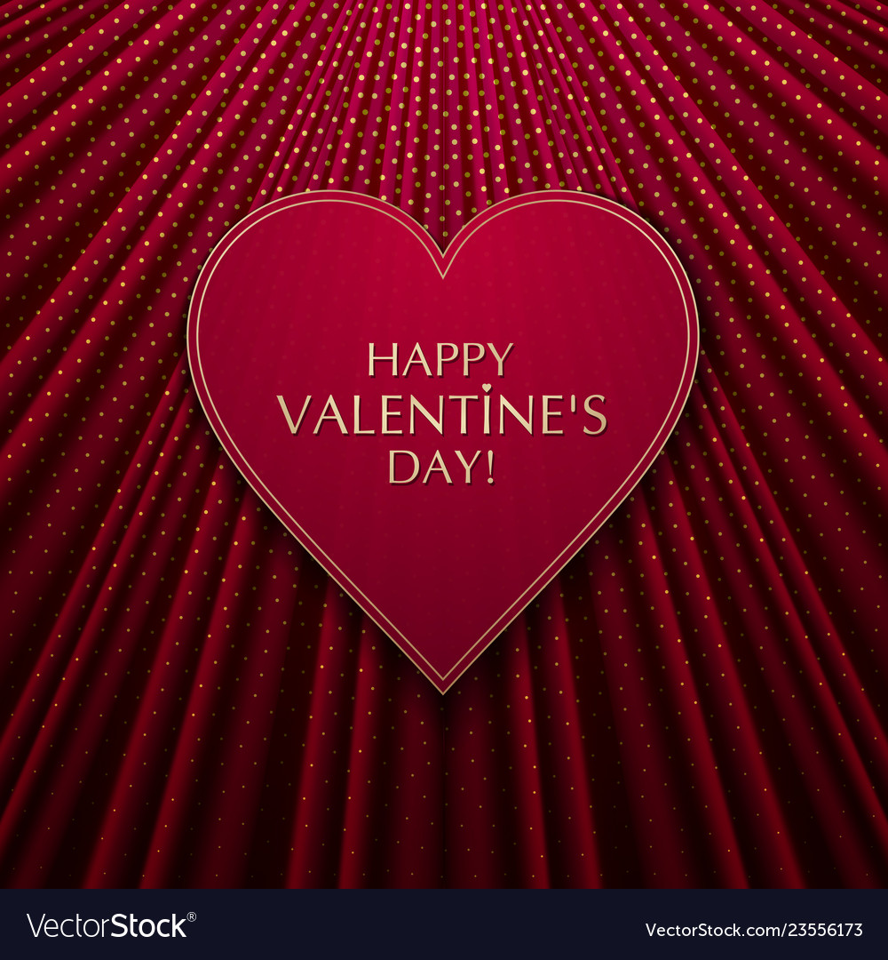 The red heart on fabric texture background