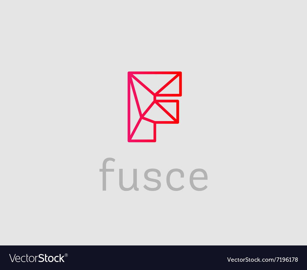 abstract trend letter f logo design template vector image