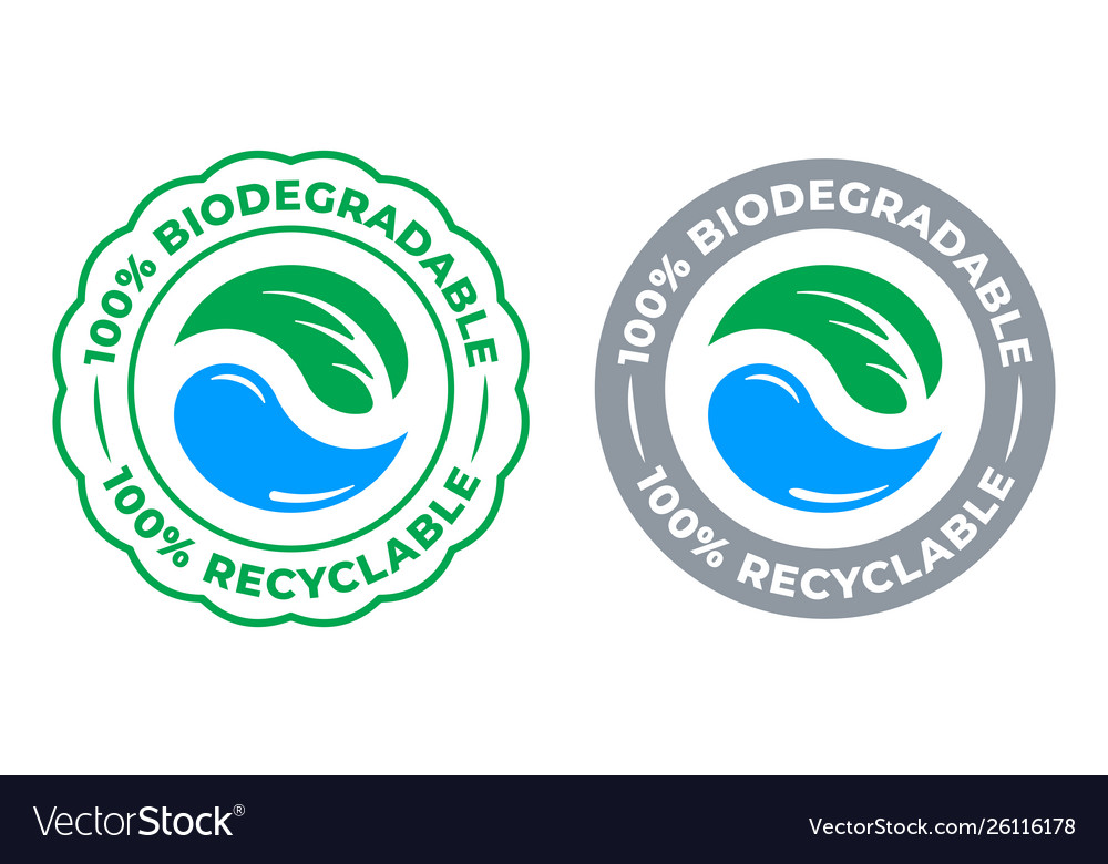 Biodegradable recyclable 100 percent label icon