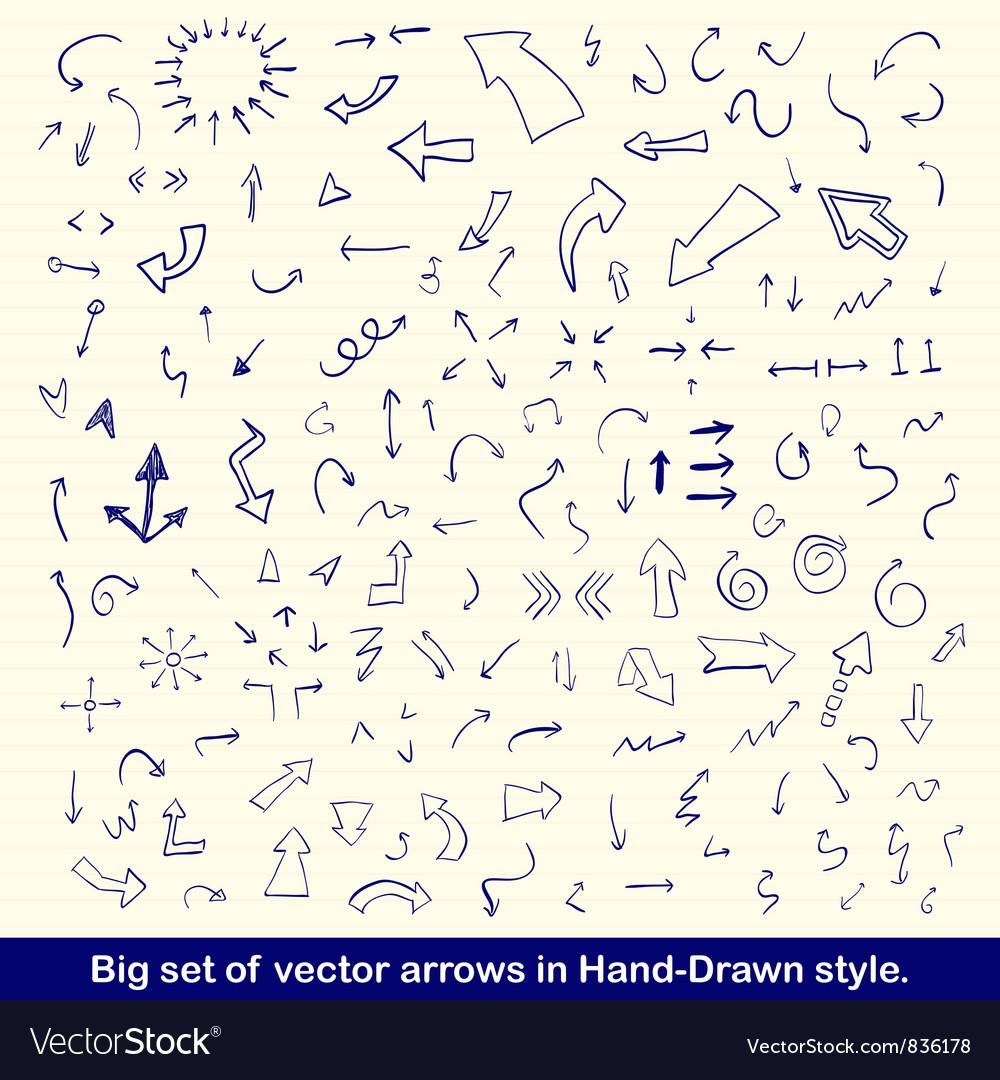 Blue hand drawn arrows set vector image