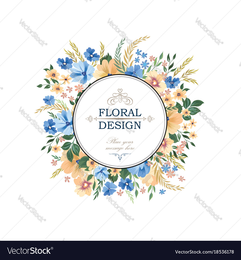Floral frame pattern flower circle border