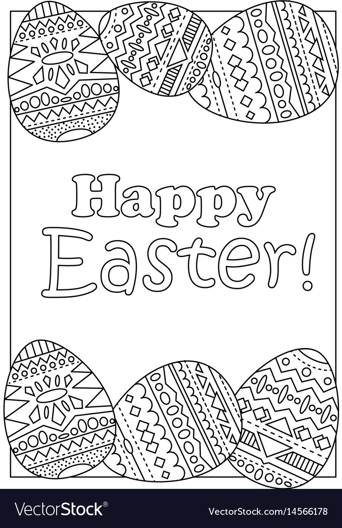 Happy easter eggs with tribal ornament vector image