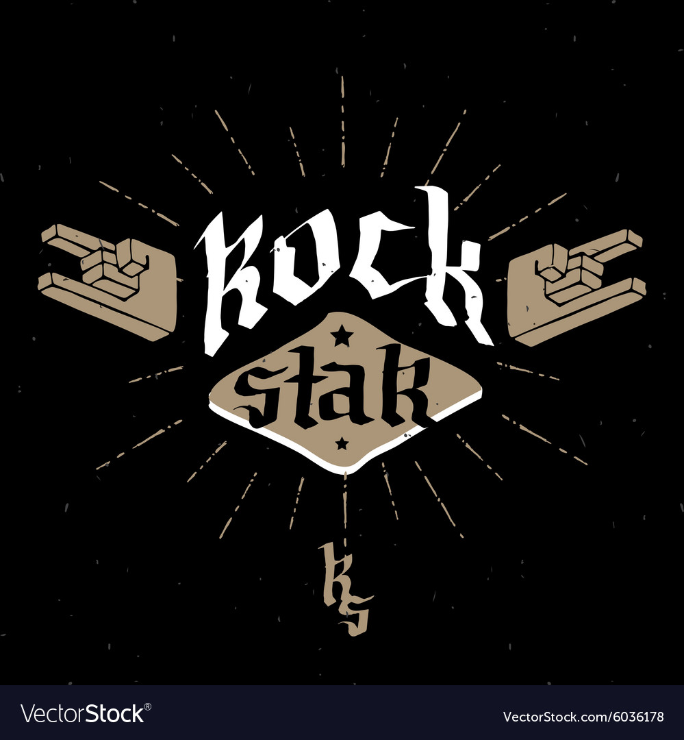 Rock Star - retro badge for poster flayer or