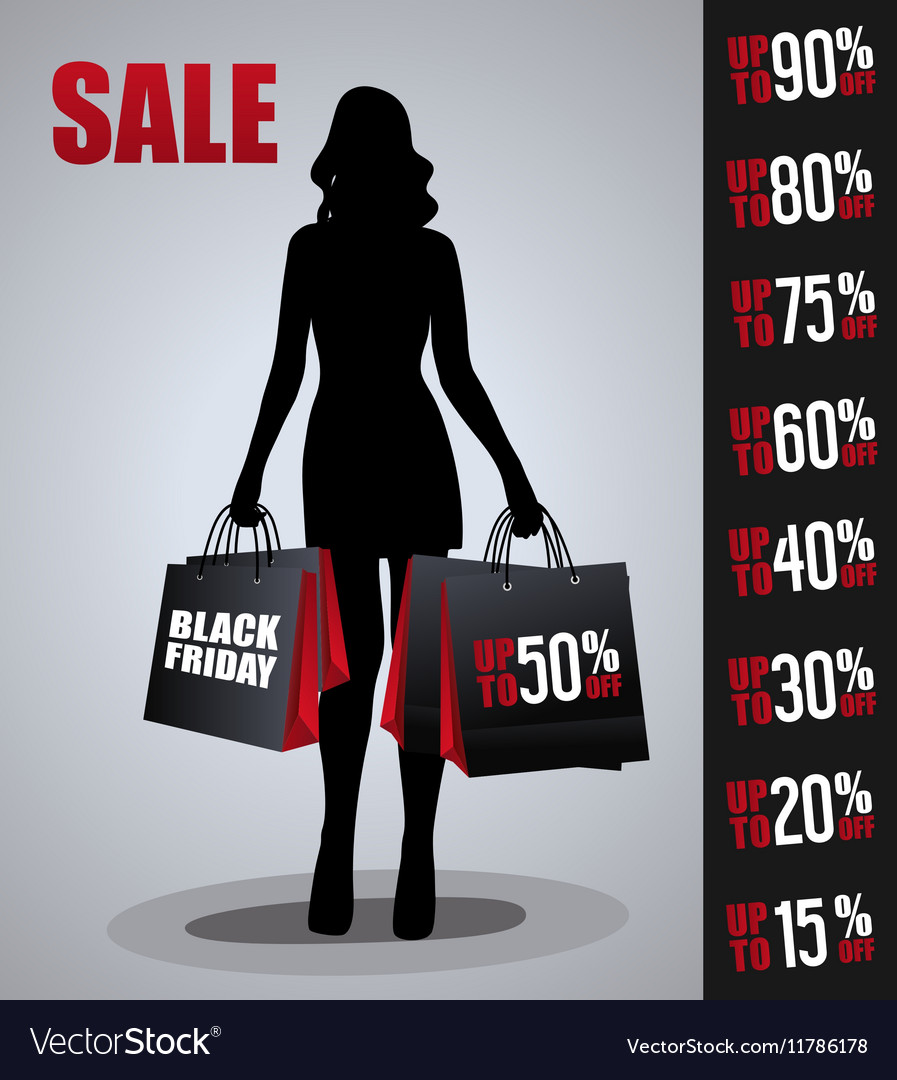 Sales poster with woman silhouette