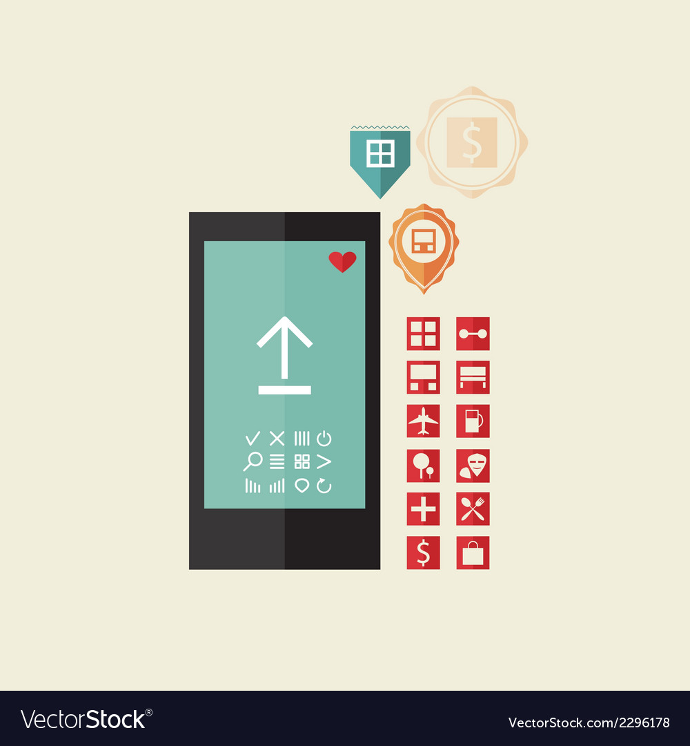 Set of icons for the phone vector image