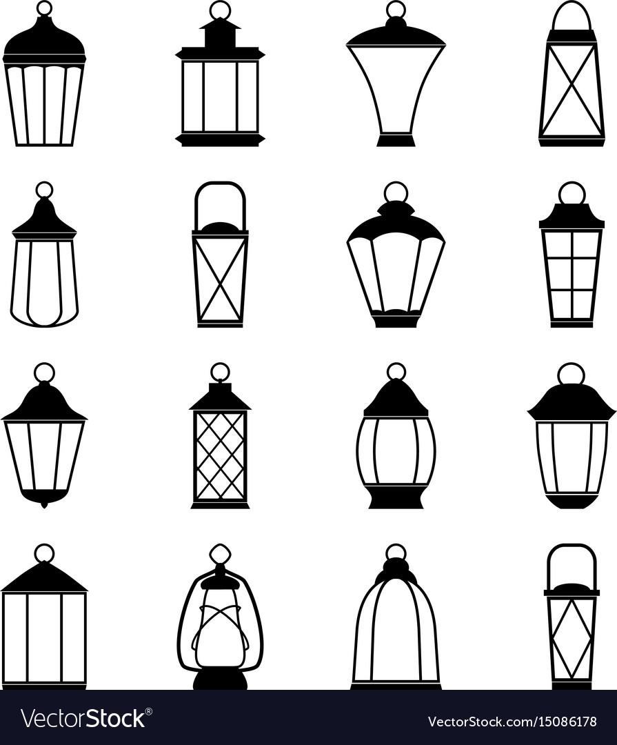 Set of lantern icons