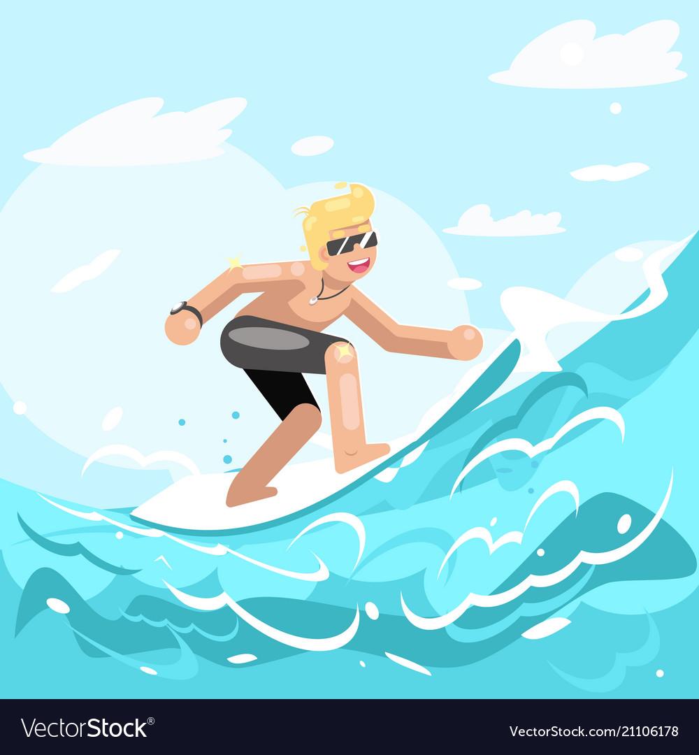 Surfer chatacter surfboard ride water sea ocean