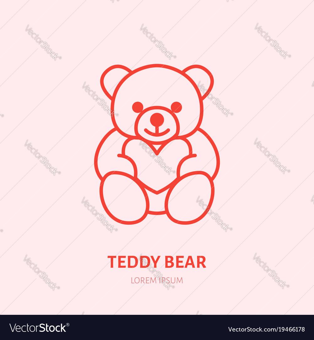 Teddy bear plush flat line icon toy vector image