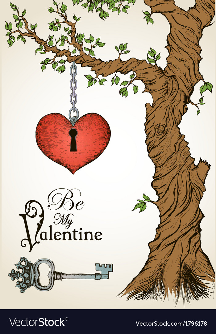 Valentine card with a heart hanging on tree and