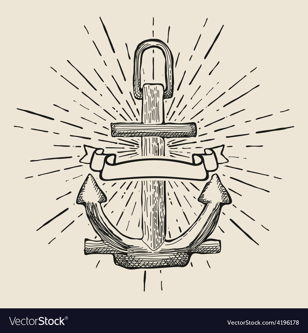Vintage Marine Anchor isolated engrave