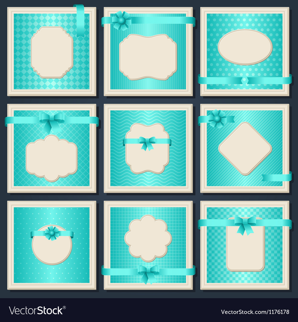 Vintage patterned cards with gift bows and ribbons vector image