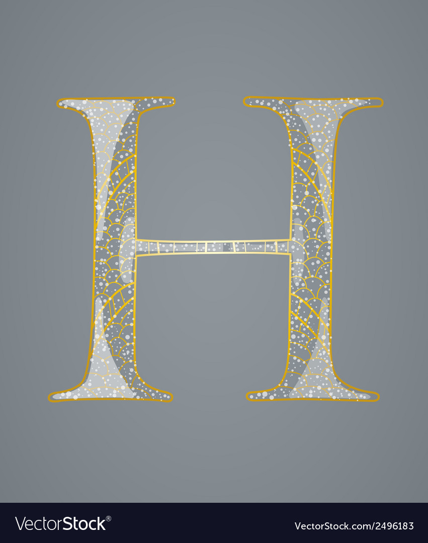 Abstract golden letter H vector image