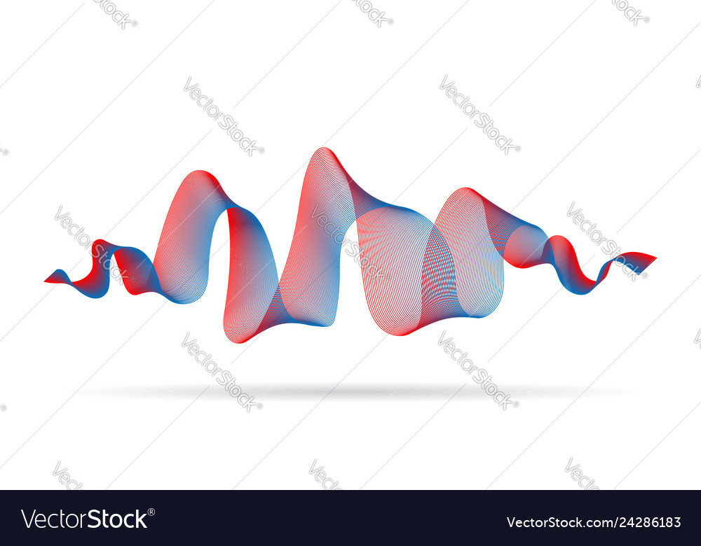 Abstract wave ribbon red blue color design element