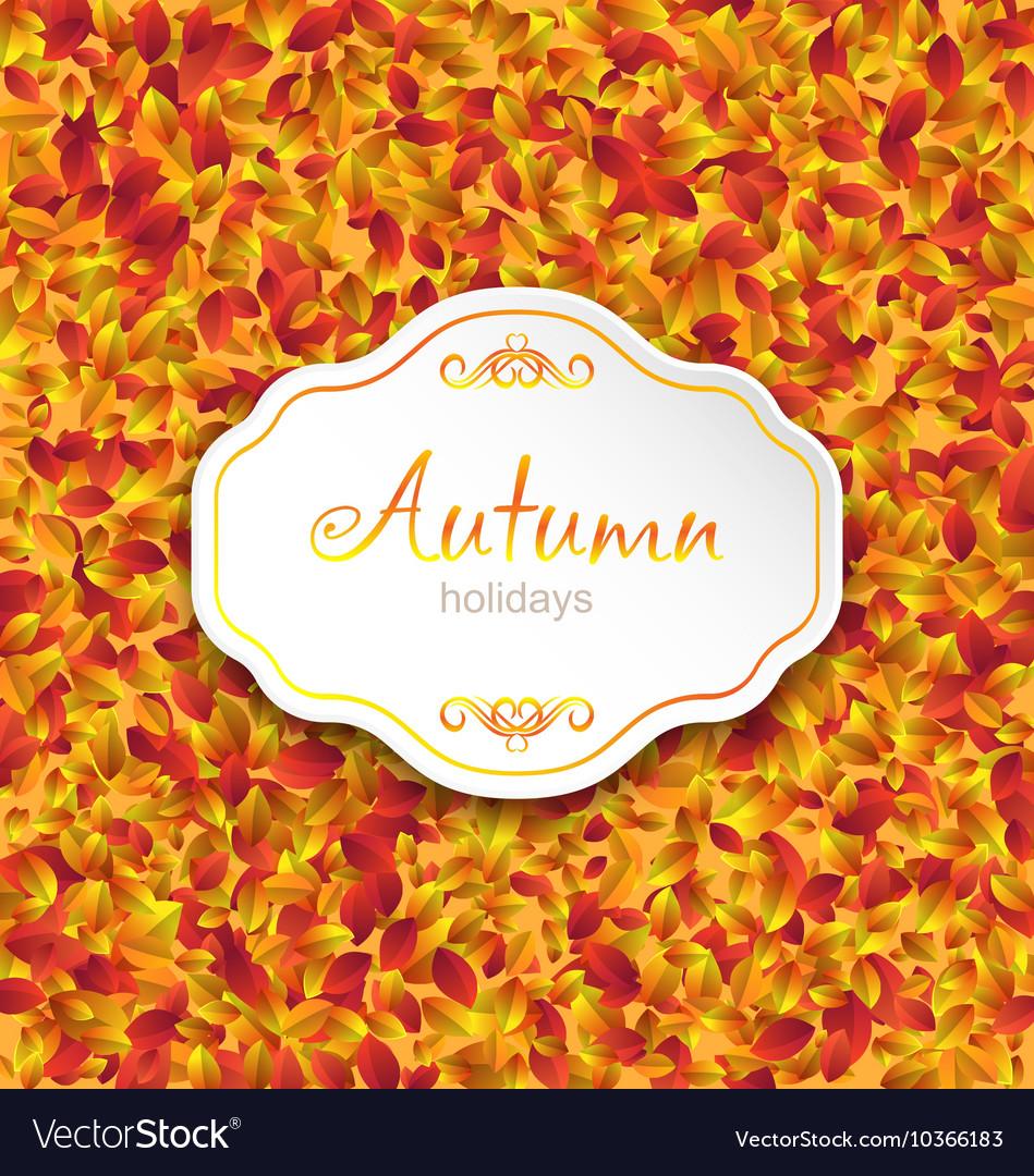 Autumn Card on Orange Leaves Texture September