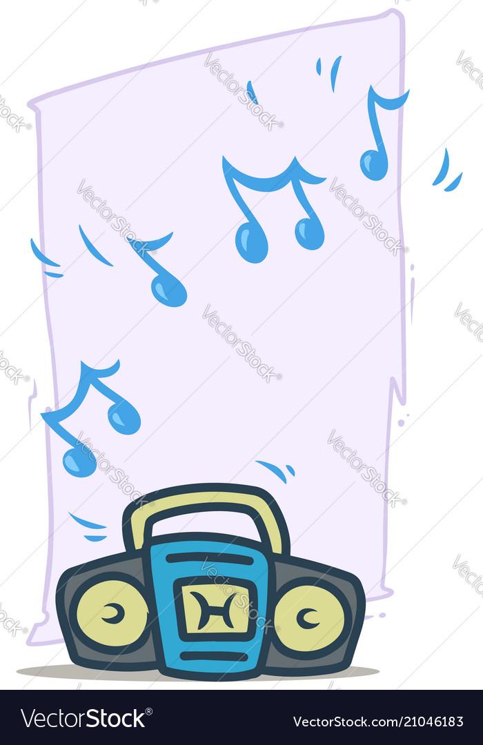 Cartoon blue working tape recorder icon