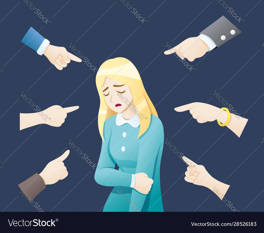 Depressed woman being bullied