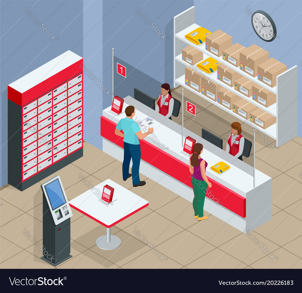 Isometric post office concept young man and woman