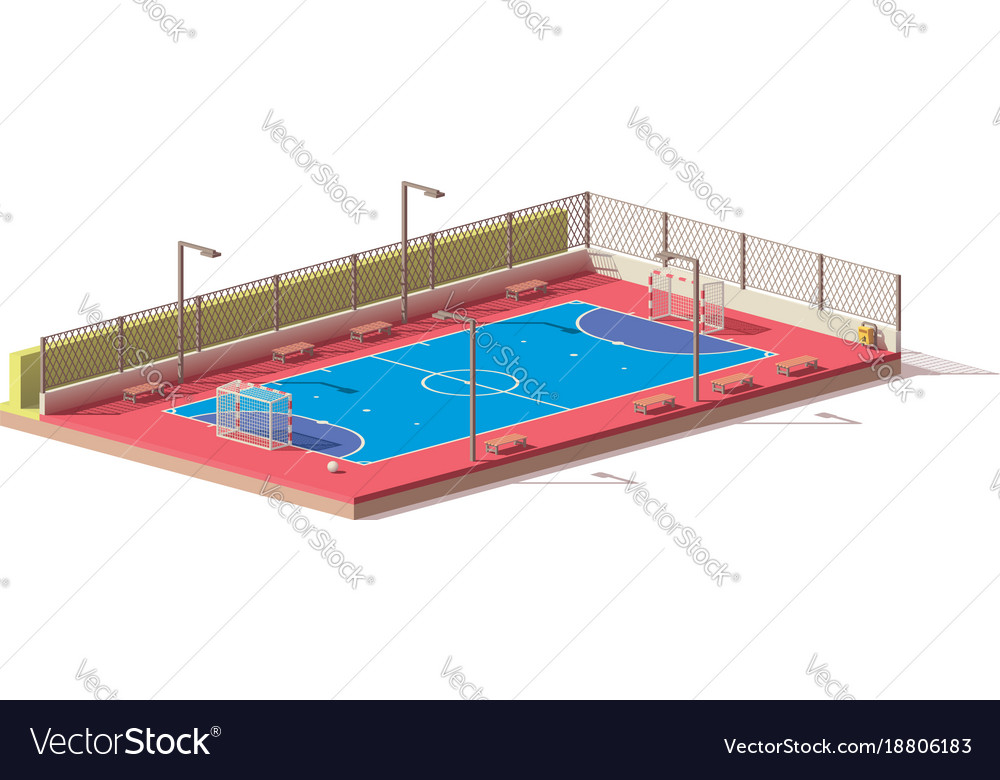 Low poly futsal court vector image