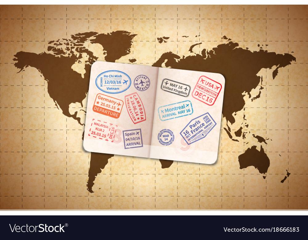 Open foreign passport with international visa