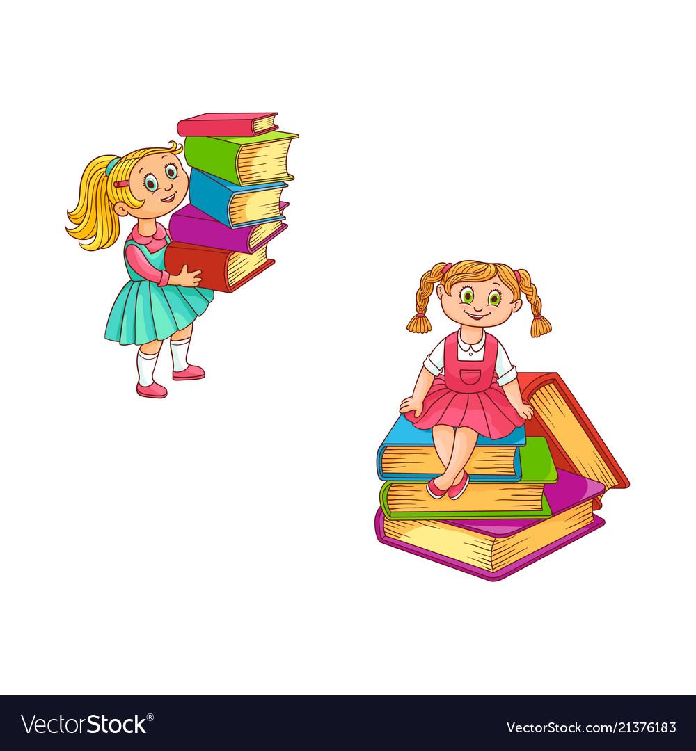 Schoolgirls with books set of little kids holding