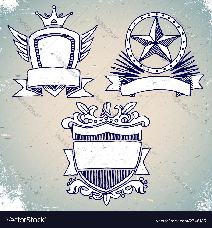 Set of sketch vintage shield labels