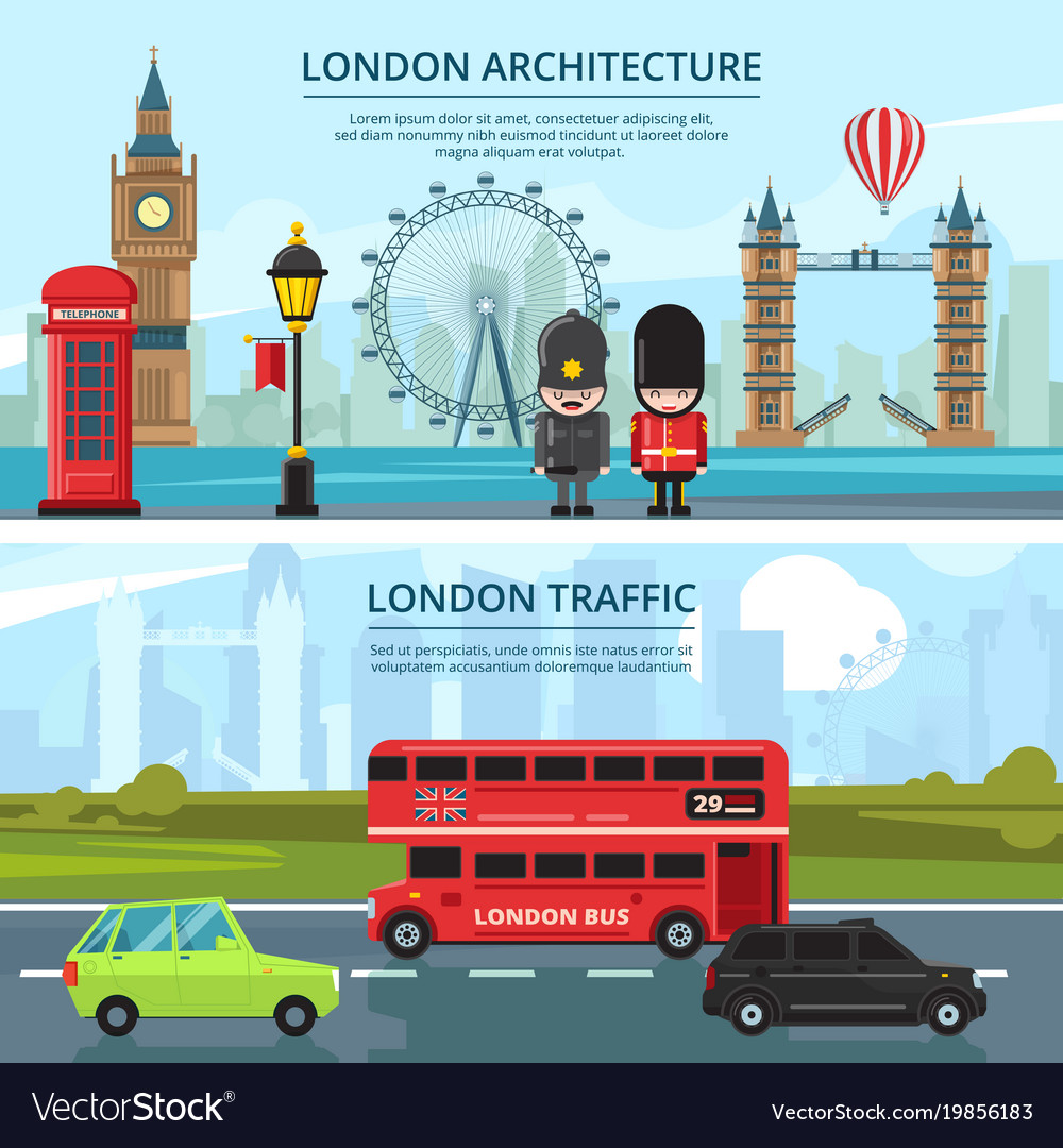 Urban landscape of london banners set