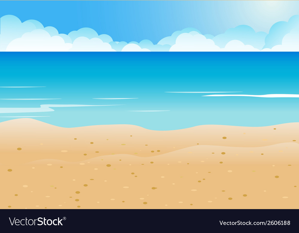Cartoon Beach and blue sea background Royalty Free Vector
