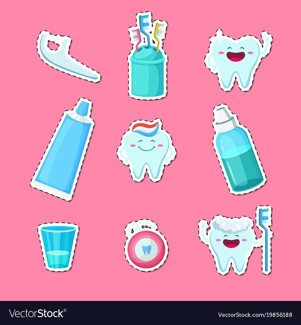 Cartoon teeth hygiene stickers isolated on