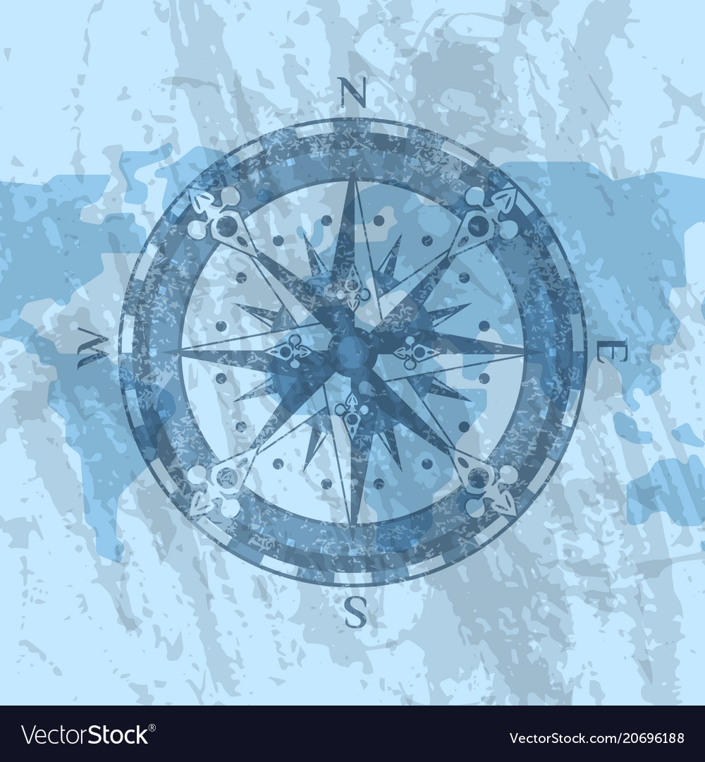 Compass Rose On Background Of World Map Royalty Free Vector
