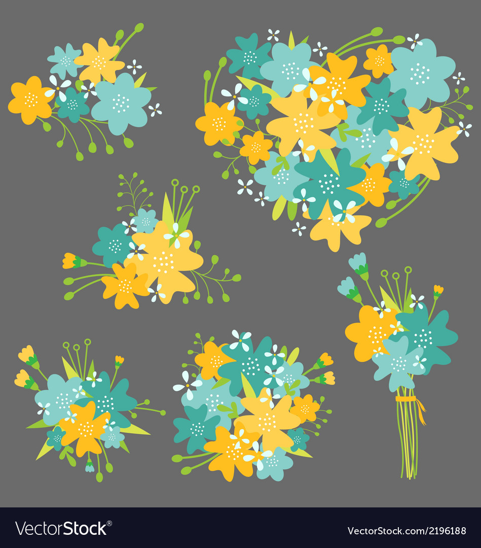Floral bouquet in yellow and blue royalty free vector image floral bouquet in yellow and blue vector image izmirmasajfo