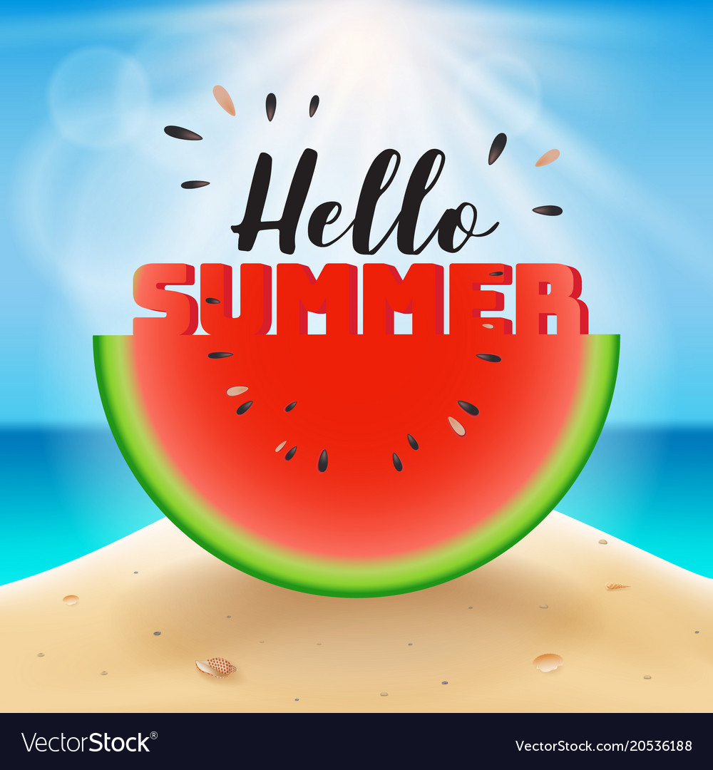 Hello summer lettering on watermelon sliced