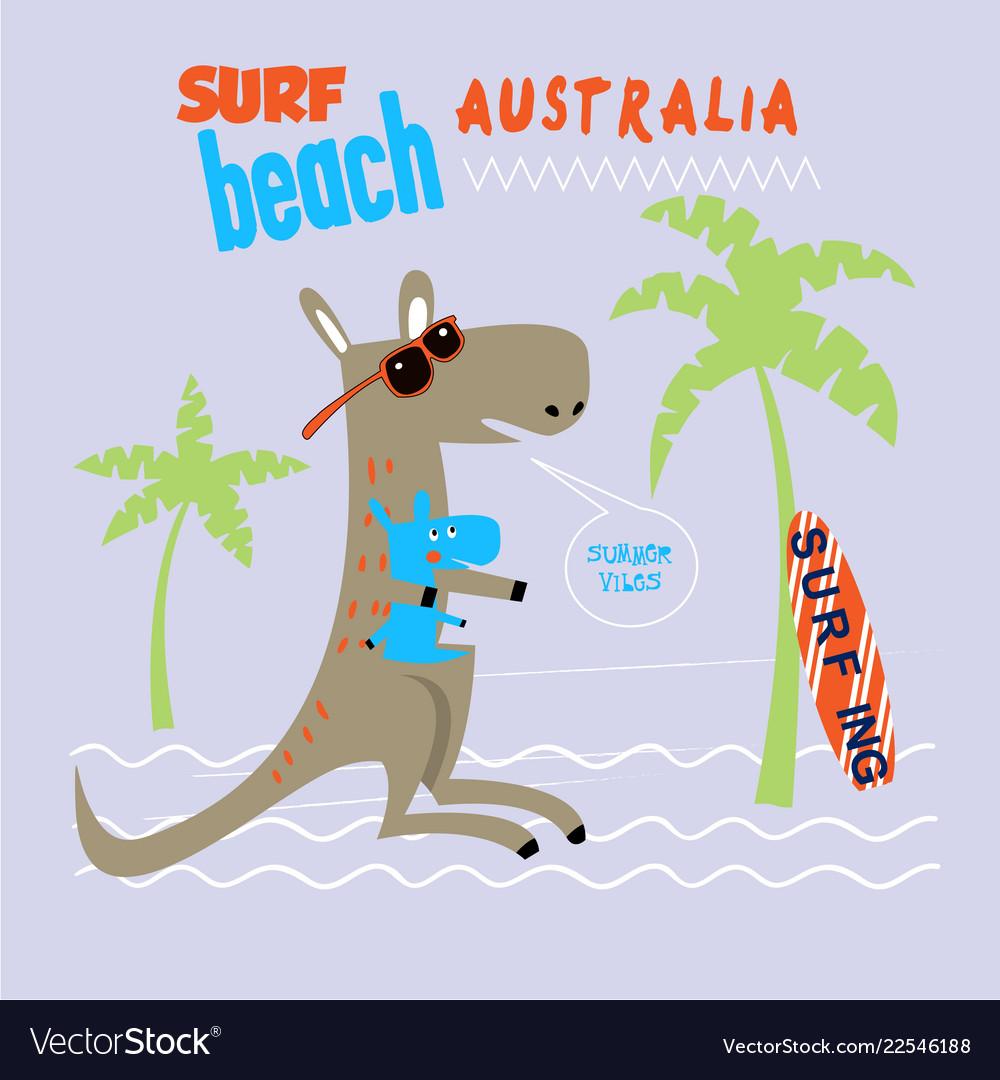 Kangaroo emblem for t-shirt print