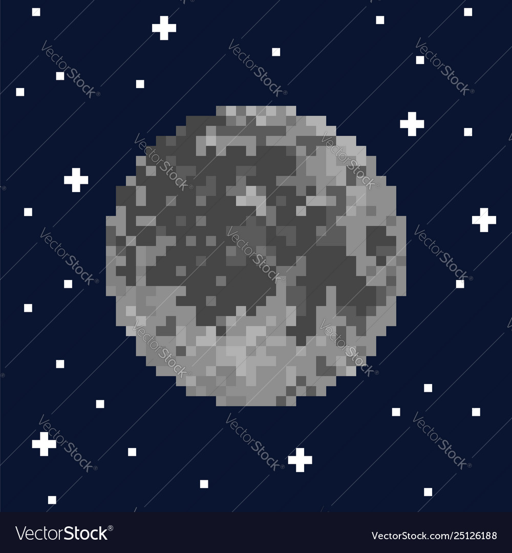 Pixel art moon and stars