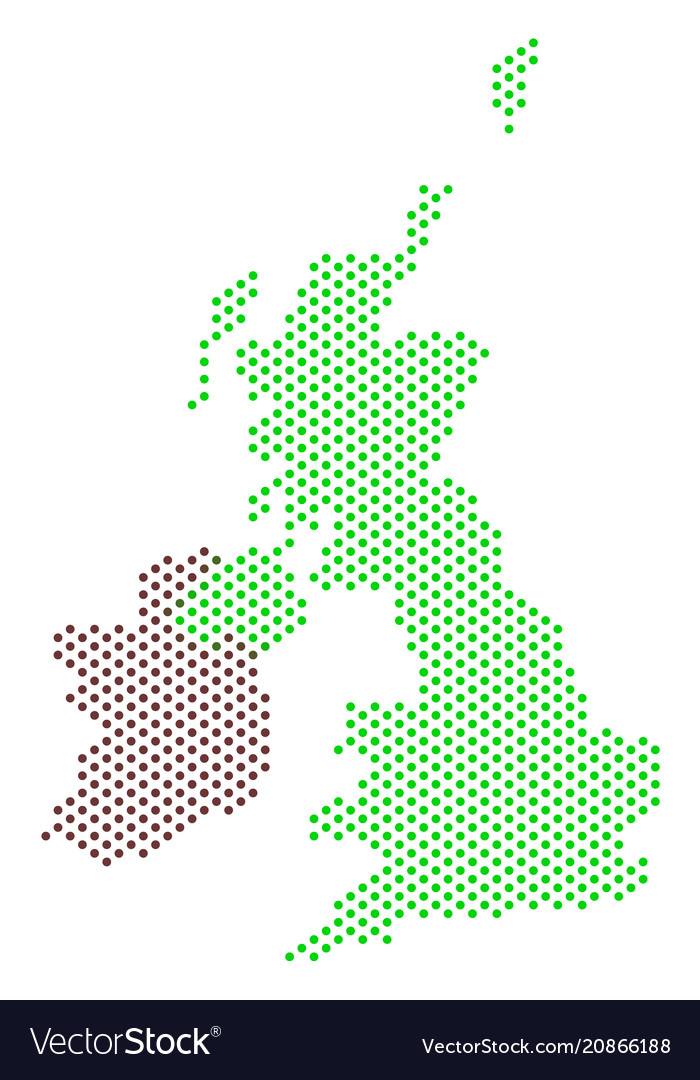 Map Of Ireland And Britain.Pixel Great Britain And Ireland Map
