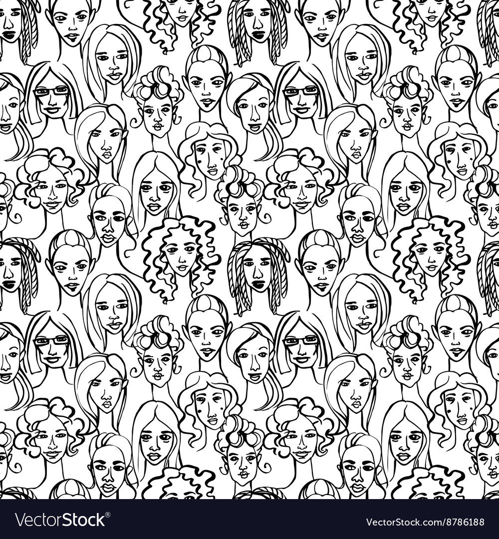 Seamless pattern of female doodle hand drawn