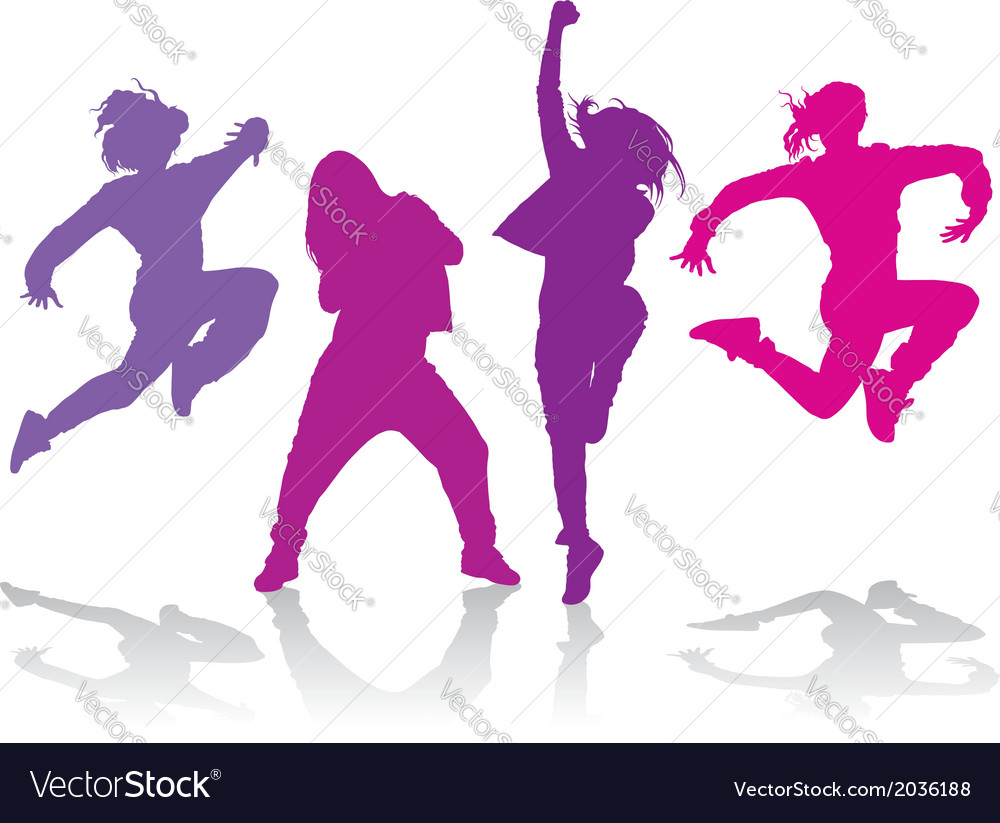 Silhouettes Of Girls Dancing Hip Hop Dance Vector Image
