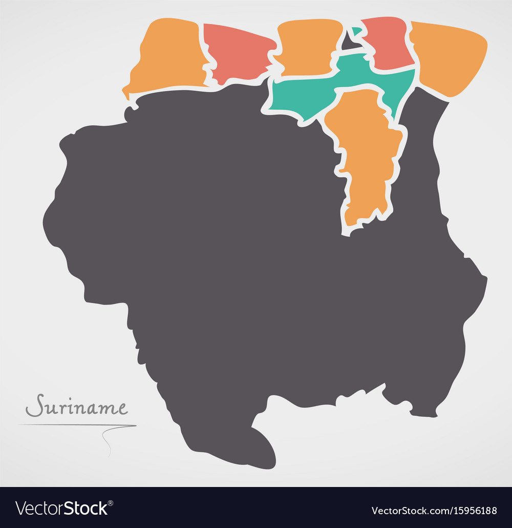 Suriname Map With States And Modern Round Shapes Vector Image