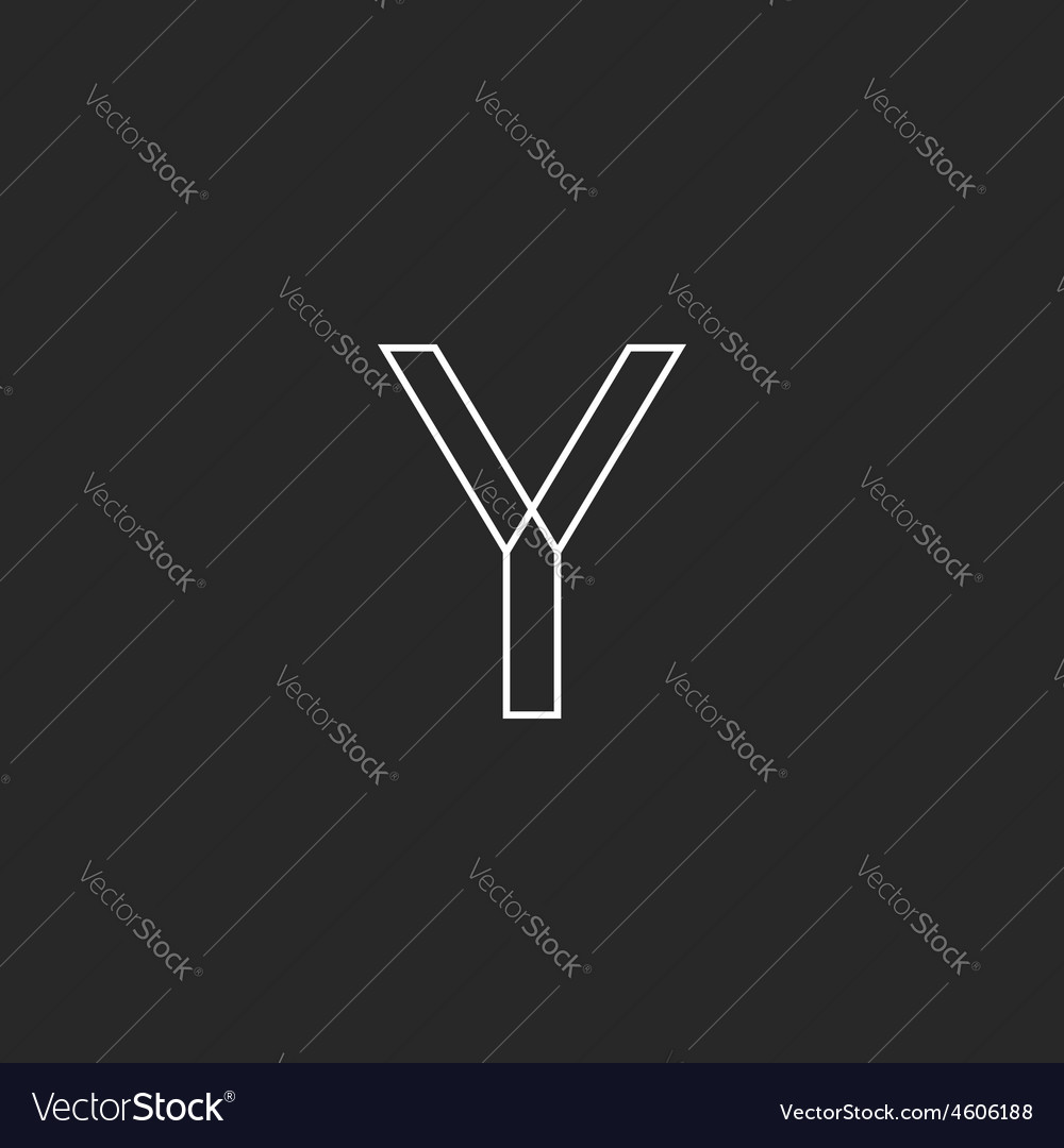 Y letter line logo mockup black and white business