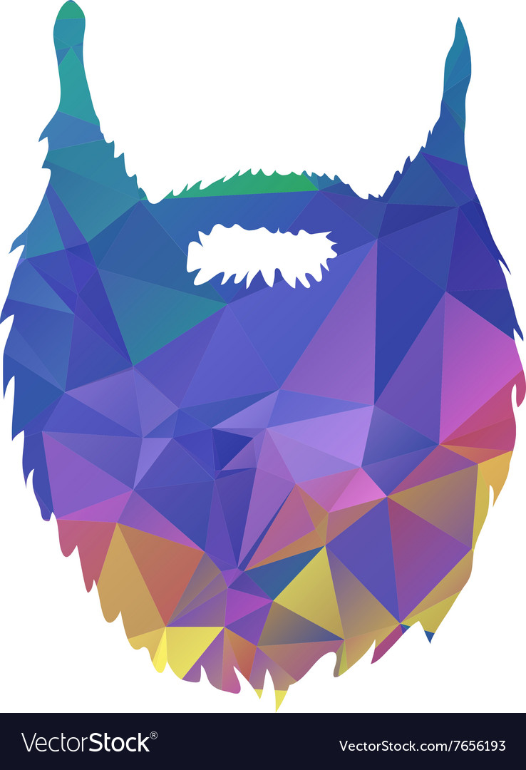Abstract triangles low poly beard isolated on
