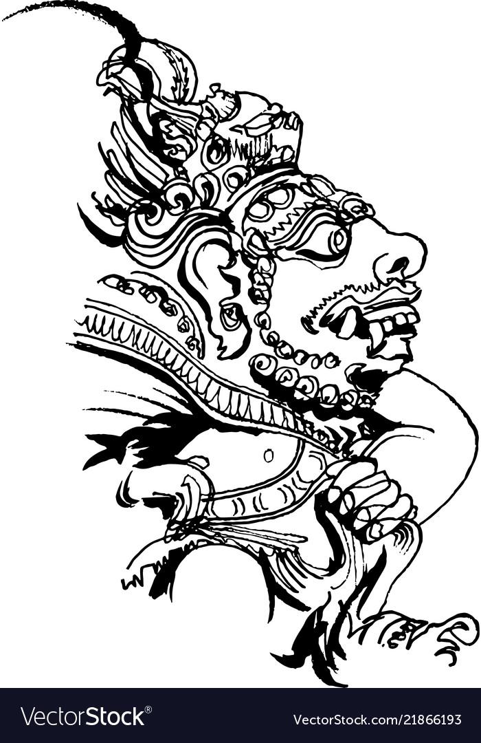 Bali Motifs Stone Idol Of Bali Island Royalty Free Vector