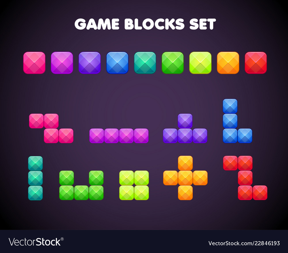 Different cartoon colorful brick elements for