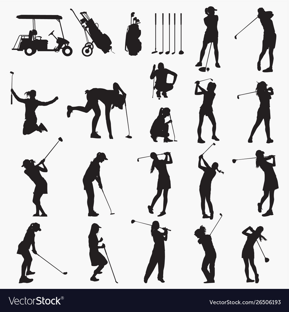 Golfer woman silhouettes