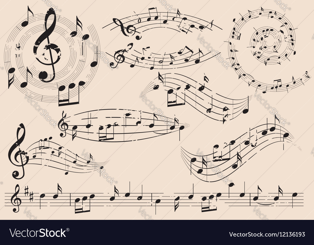 Grungy music design elements with notes - set vector image