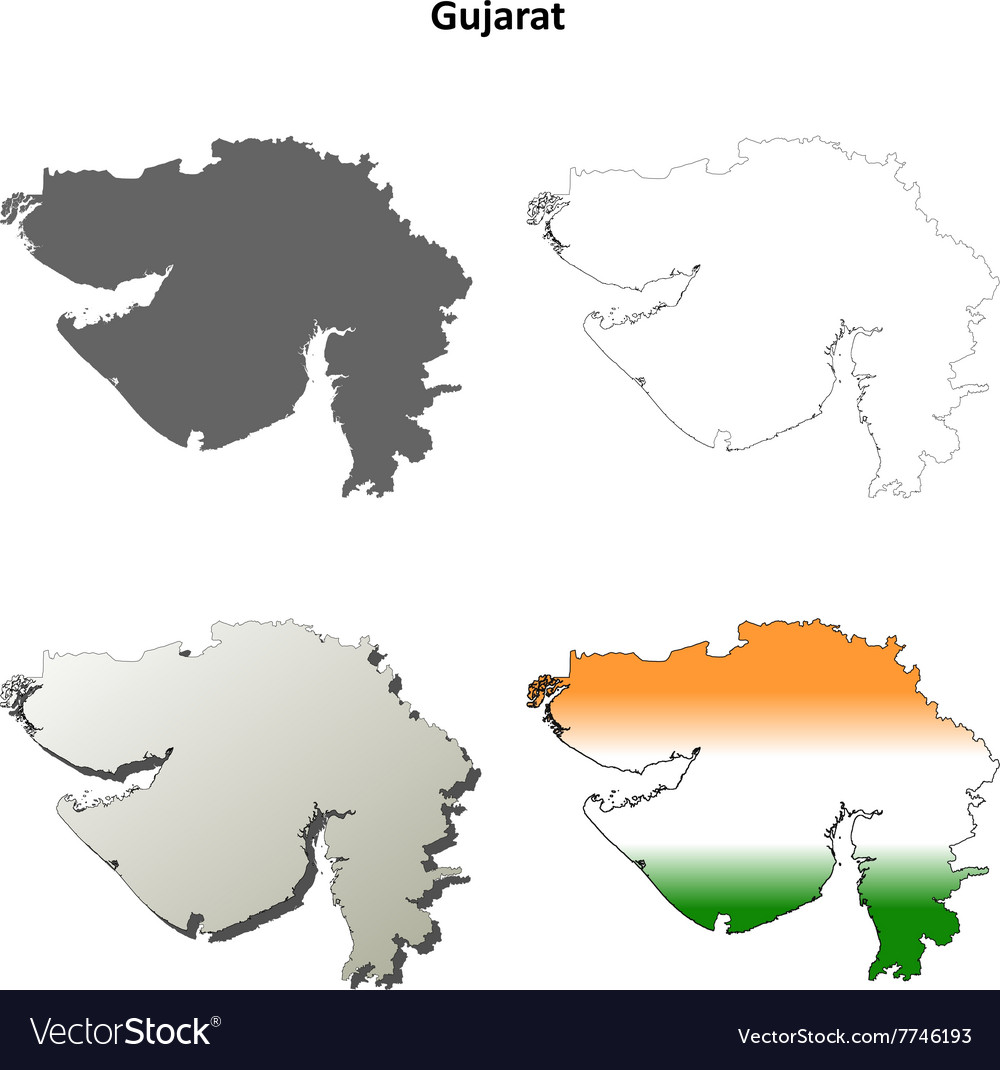 Gujarat blank detailed outline map set
