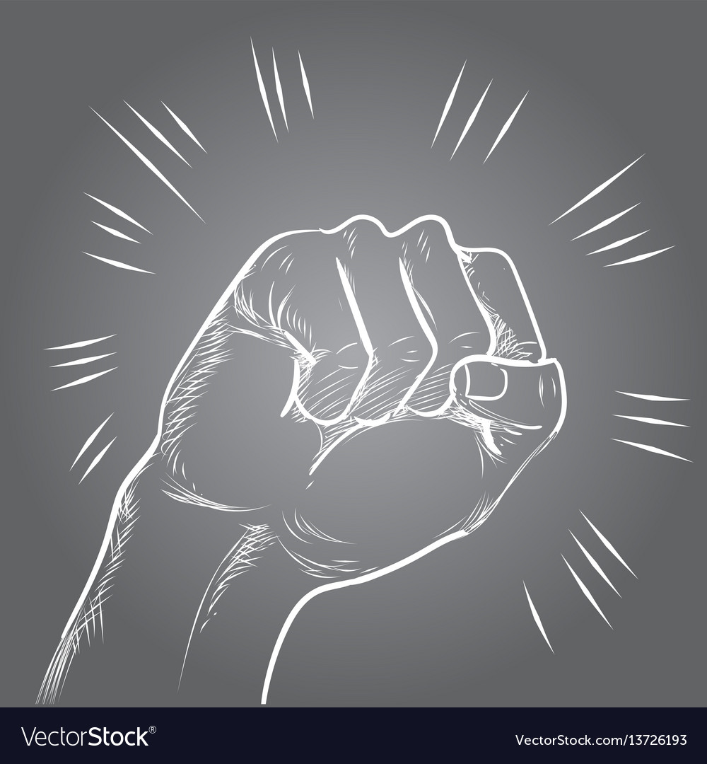 Hand punch or hitting line chalk on vector image