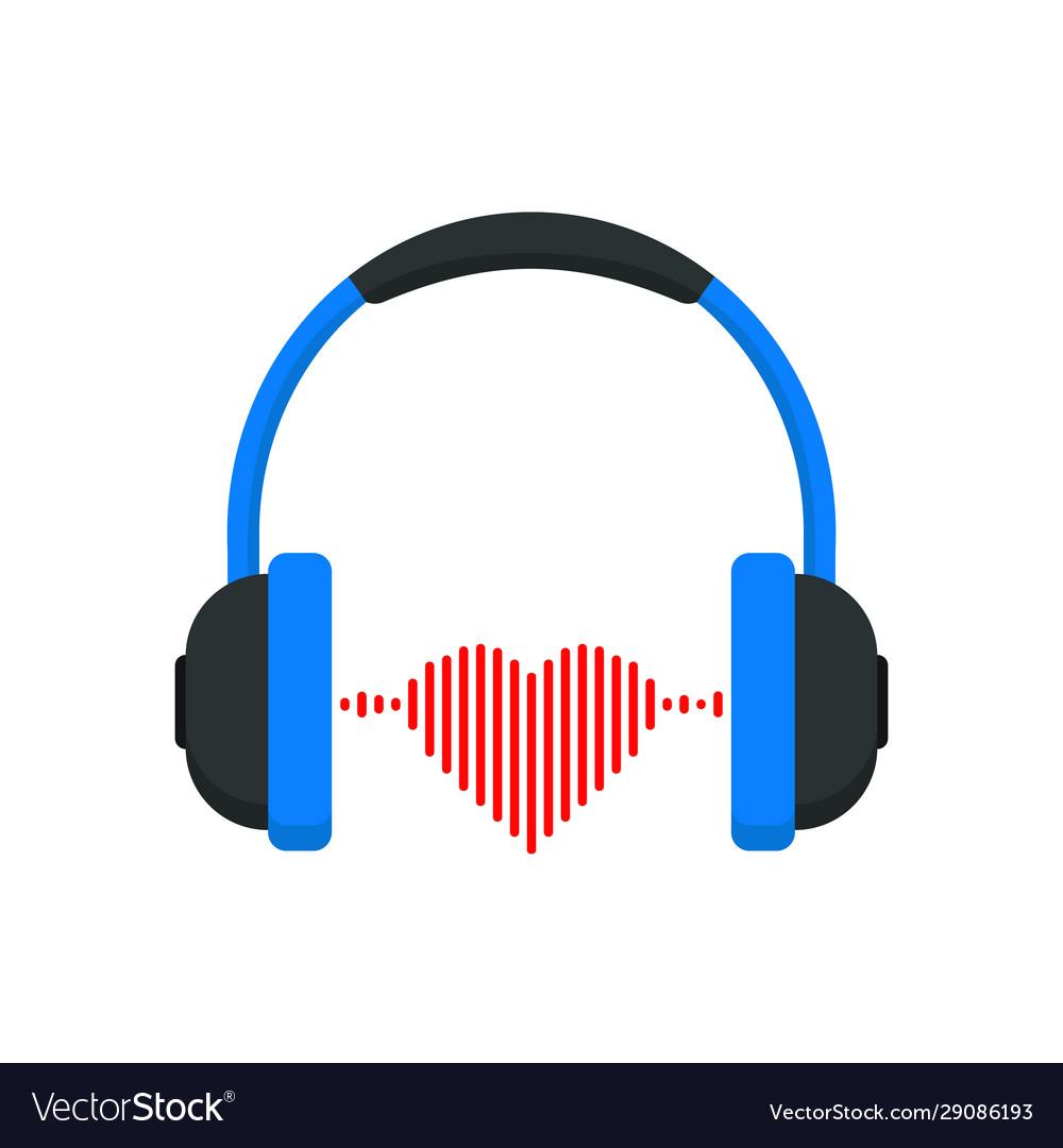 Headphones with heart icon
