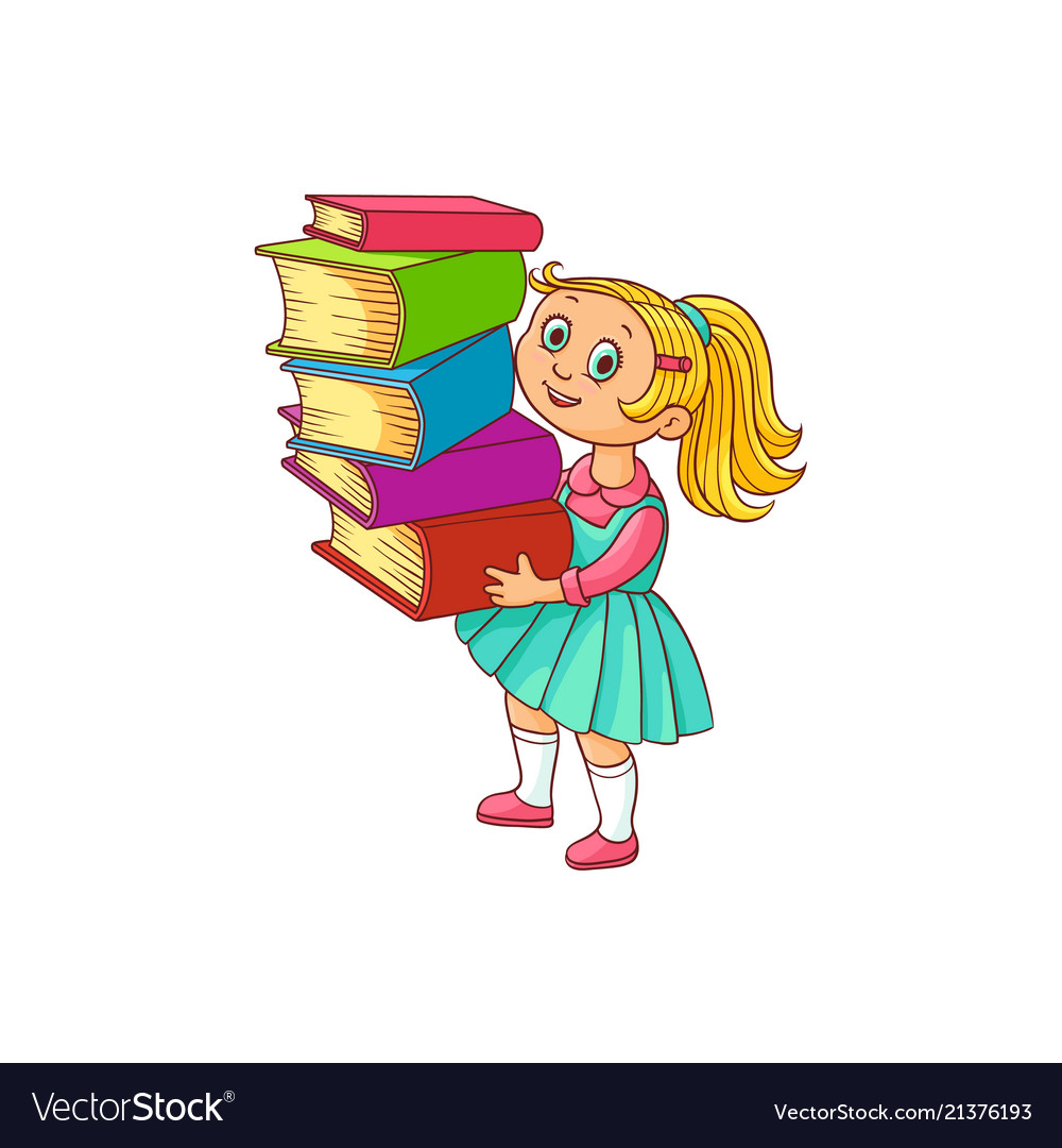 Schoolgirl with books cartoon character isolated