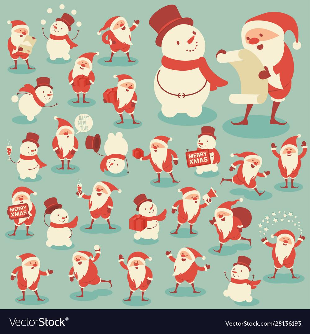 Set acting santa and snowman